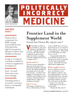 Politically Incorrect Medicine July 2013